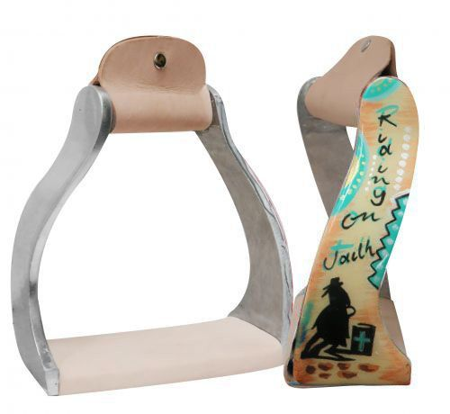 "Lightweight twisted angled aluminum stirrups with painted ""Riding on Faith"" design"