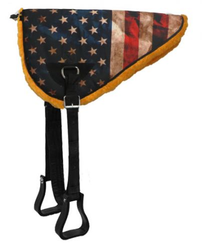 American flag design bareback saddle pad with kodel fleece bottom