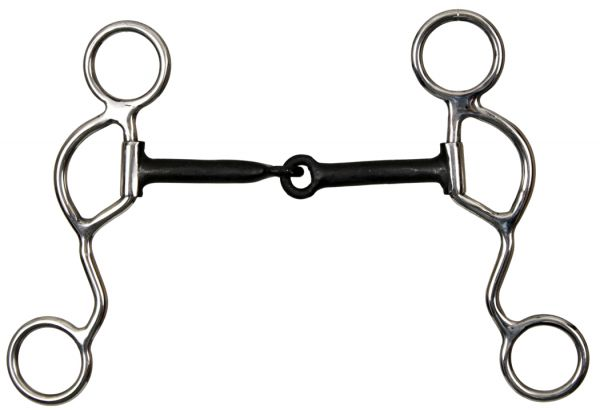 "half moon cheek snaffle bit with 4 3/4"" blued steel mouth"
