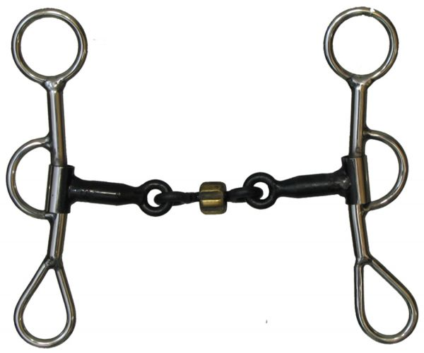 "stainless steel Colt snaffle bit with 6"" cheeks"