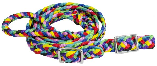 "92"" adjustable multi colored braided nylon contest rein"