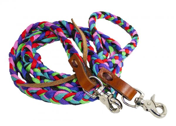 Multi color braided nylon contest rein with scissor snap ends