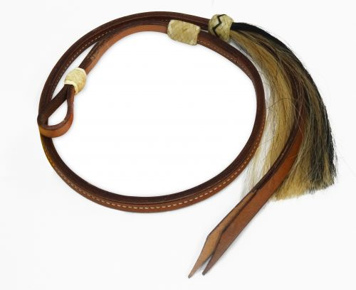 4 ft leather Over & Under whip with horse hair tassel