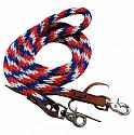"96"" Red, white and blue braided nylon barrel style reins with scissor snap ends"