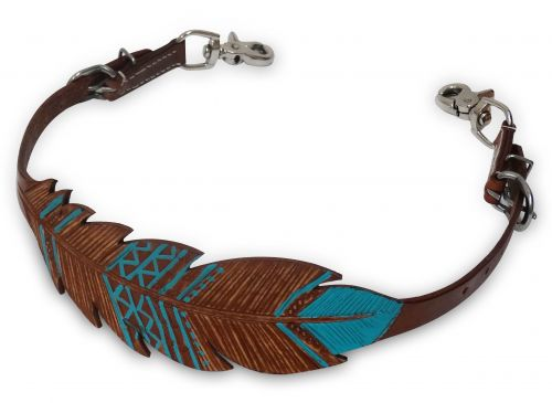 Cut-out, hand painted feather wither strap