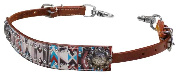 Multi color Navajo diamond print wither strap-Multi color Navajo diamond print wither strap