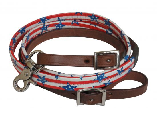 "5/8"" x 8ft Stars and stripes print leather reins-5/8 x 8ft Stars and stripes print leather reins"