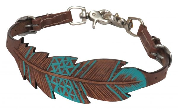 PONY Cut-out, hand painted feather wither strap