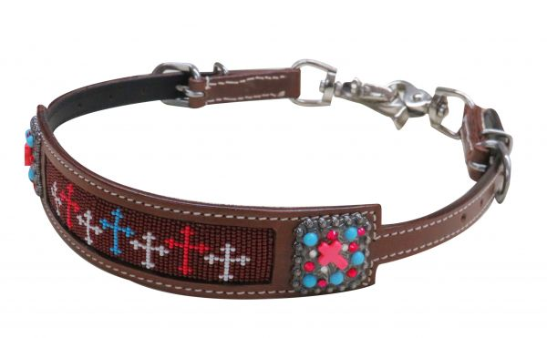 Beaded cross wither strap with crystal rhinestone conchos