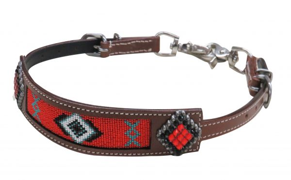 Beaded Navajo wither strap with crystal rhinestone conchos