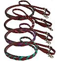 8ft leather braided rein with colored lacing