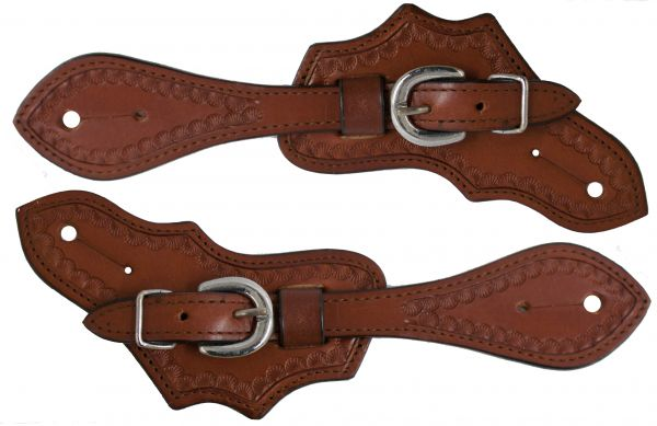 Ladies/ Youth size Argentina cow leather spur straps with a scalloped tooled border- Ladies/ Youth size Argentina cow leather spur straps with a scalloped tooled border
