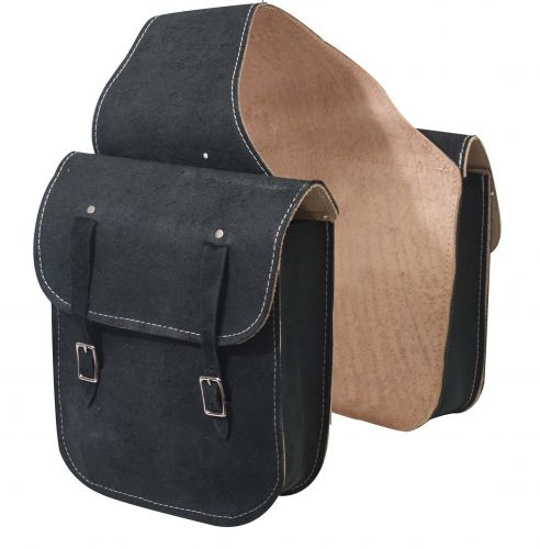 Rough out leather saddle bag with double buckle closure.