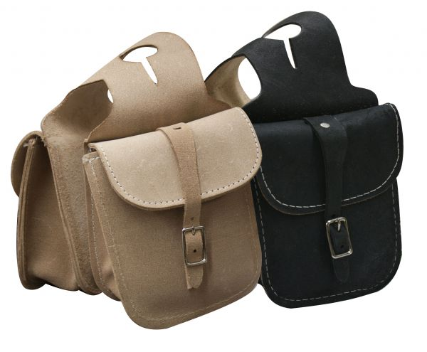 Rough out leather horn bag with single buckle closure-Rough out leather horn bag with single buckle closure