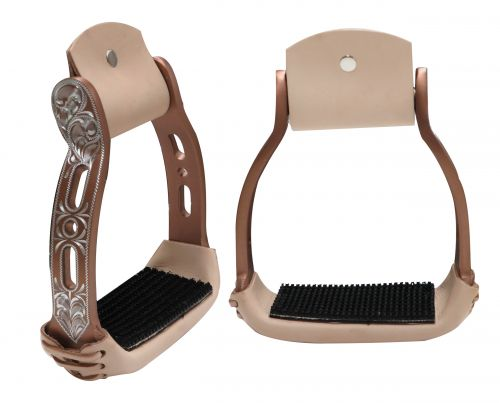 Light weight copper colored aluminum stirrups with engraved and cut out design-Light weight copper colored aluminum stirrups with engraved and cut out design
