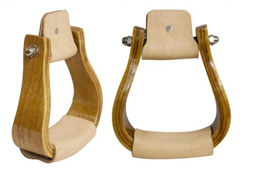 Curved wooden stirrup with leather tread.-Curved wooden stirrup with leather tread.