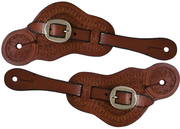 Ladies/ Youth size Argentina cow leather spur straps with Basket weave tooling-Ladies/ Youth size Argentina cow leather spur straps with Basket weave tooling