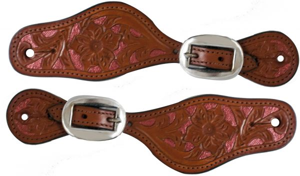 Ladies/ Youth size mahogany color Argentina cow leather with pink metallic painted floral tooling- Ladies/ Youth size mahogany color Argentina cow leather with pink metallic painted floral tooling.