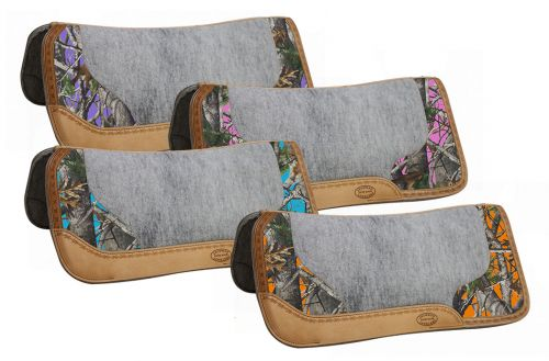 "32"" x 31"" Real Oak Camo contoured Felt bottom saddle pad with filigree print and Argentina cow leather trim"