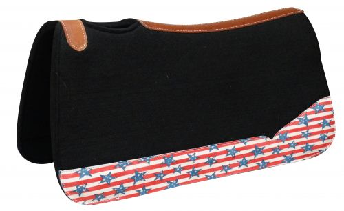 "31"" Wide x 32"" black felt pad with stars and stripes print"