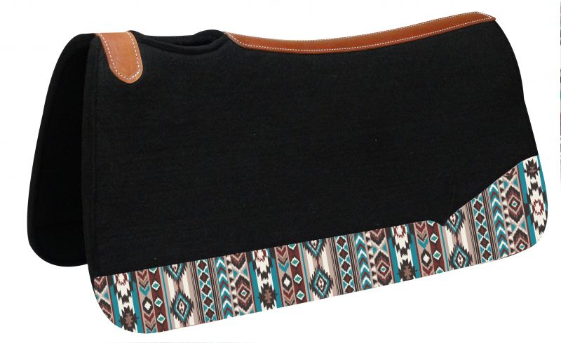 "31"" Wide x 32"" black felt pad with Navajo print"