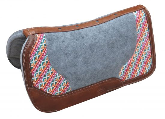 "PONY 24"" x 24""  Argentina cow leather saddle pad with Aztec print- PONY 24 x 24  Argentina cow leather saddle pad with Aztec print"