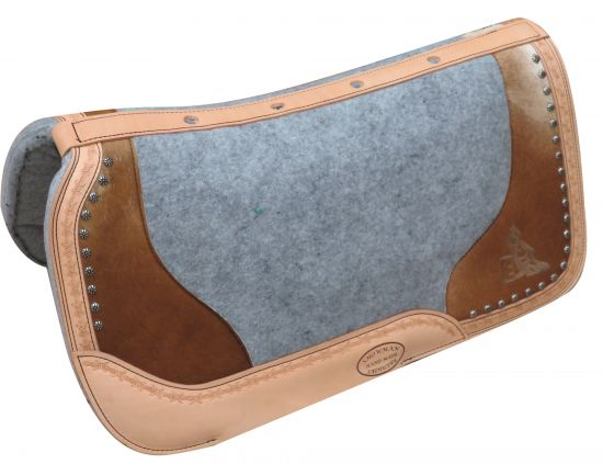 "PONY 24"" x 24""  Argentina cow leather saddle pad hair on cowhide and etched barrel racer design"