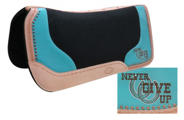 "32"" x 31"" x 1"" Black felt saddle pad with branded "" Never Give Up"" logo"
