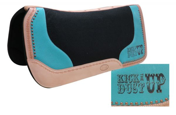 "32"" x 31"" x 1"" Black felt saddle pad with branded "" Kick the Dust Up"" logo- 32 x 31 x 1 Black felt saddle pad with branded  Kick the Dust Up logo"