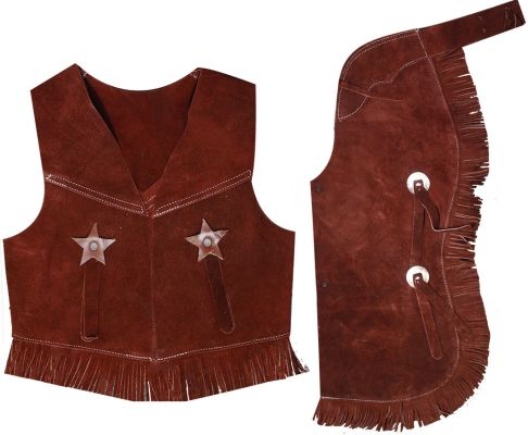 Kid's size suede leather chap and vest outfit with fringe-Kid's size suede leather chap and vest outfit with fringe