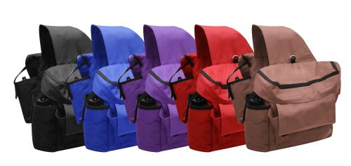 Insulated cordura saddle bags with double pockets and water bottles on each side.