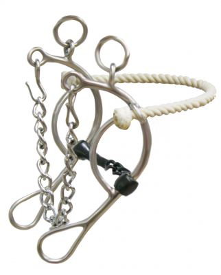 "stainless steel rope nose gag bit with 8"" cheeks"