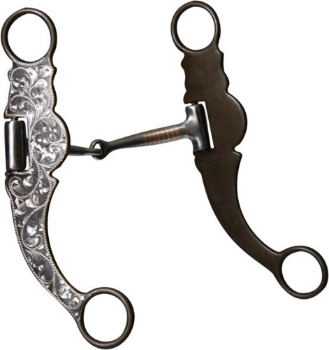 stainless steel snaffle bit with brown steel cheeks.