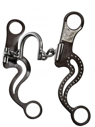 stainless steel chain link round ported bit with brown steel cheeks