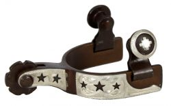 Toddler size antique brown steel silver show spur with cut out star