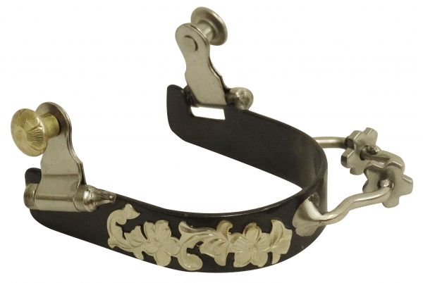 Ladies black steel bumper rowel spur with silver overlays
