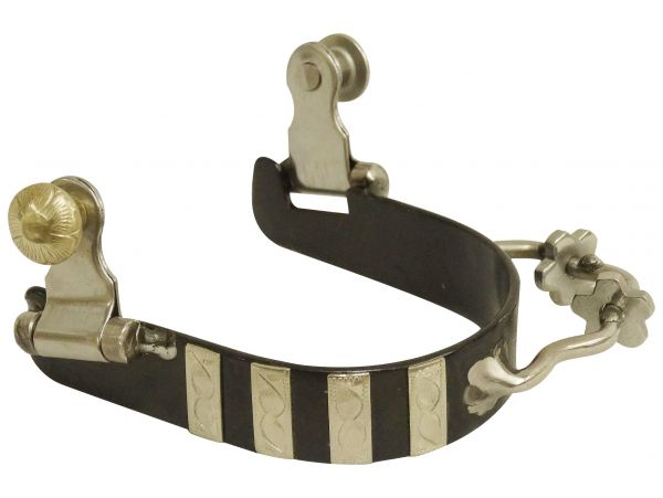 Ladies black steel bumper spurs with engraved silver bar overlays- Ladies black steel bumper spurs with engraved silver bar overlays