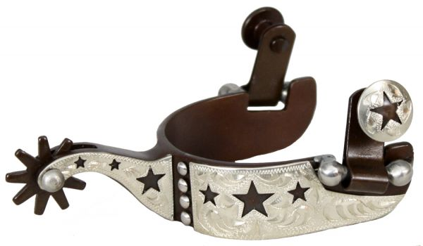 Youth size antique brown steel silver show spur with cut out star and dot overlay