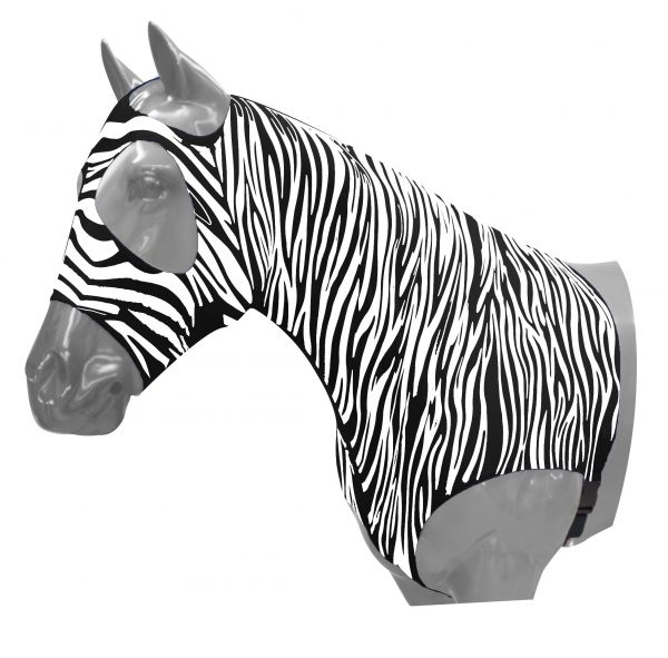 Zebra print braid keeper hood.- Zebra print braid keeper hood.