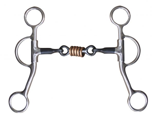 "stainless steel 5"" dog bone snaffle with rings."