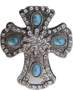 Silver Engraved Cross Concho with Crystal Rhinestones and Turquoise Stones-Silver Engraved Cross Concho with Crystal Rhinestones and Turquoise Stones