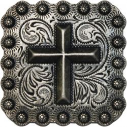 Brushed Nickel Engraved Concho with Raised Cross- Brushed Nickel Engraved Concho with Raised Cross