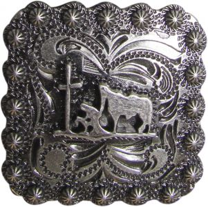 Brushed Nickel Engraved Concho with Praying Cowboy-Brushed Nickel Engraved Concho with Praying Cowboy