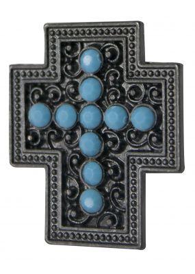 Turquoise rhinestone cross concho