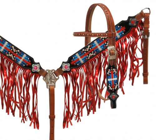 Navajo embroidered headstall and breast collar set with metallic fringe-Navajo embroidered headstall and breast collar set with metallic fringe