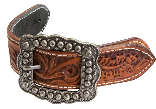 Argentina cow leather floral tooled belt spur straps.-Argentina cow leather floral tooled belt spur straps.
