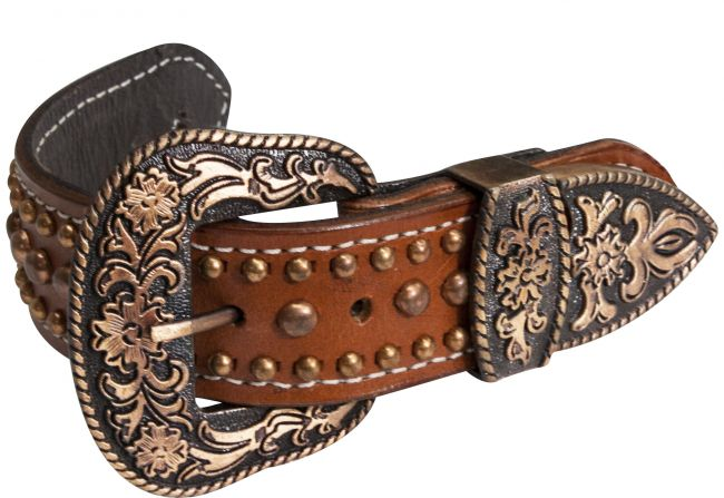 Leather copper studded belt spur straps-Leather copper studded belt spur straps