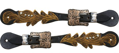 Adult size Cut out tooled spur straps with crystal rhinestones