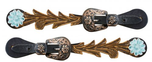 Adult size Cut out tooled spur straps with teal painted daisy