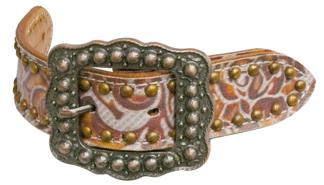 Argentina cow leather filigree print belt spur straps- Argentina cow leather filigree print belt spur straps